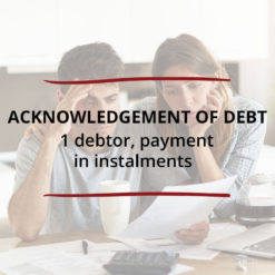 Acknowledgement of Debt–1 debtor payment in instalments Saved For Web