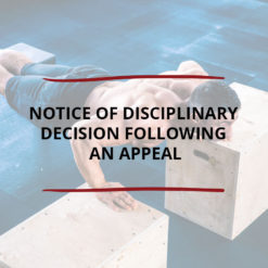 Notice of Disciplinary Decision following an Appeal Saved For Web2