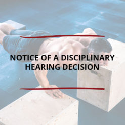 Notice of a Disciplinary Hearing Decision Saved For Web2